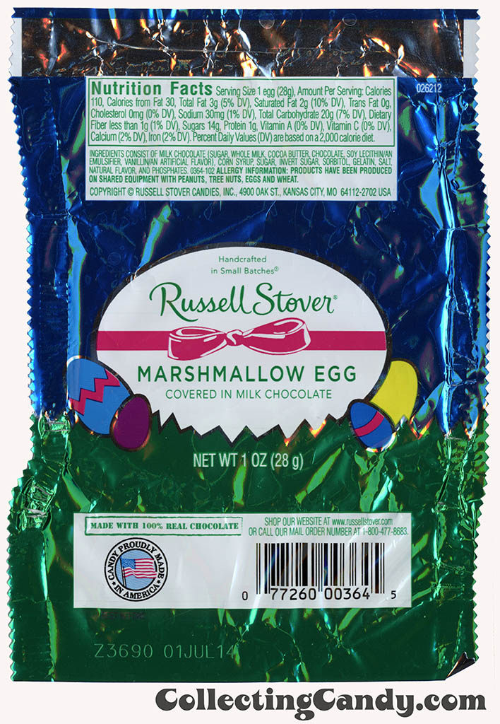 Russell Stover - Egg - Marshmallow Egg in milk chocolate - 1oz Easter candy wrapper - March 2014