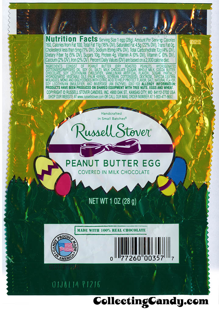 Russell Stover - Egg - Peanut Butter Egg covered in milk chocolate - 1oz Easter candy wrapper - March 2014