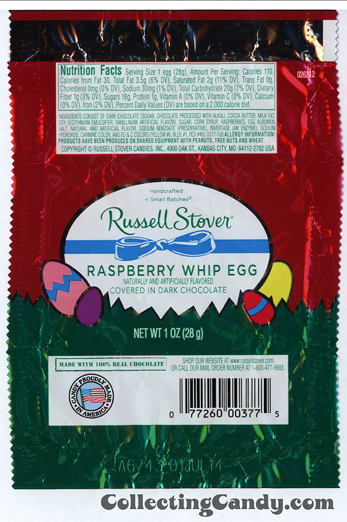 Russell Stover - Egg - Raspberry Whip Egg in dark chocolate - 1oz Easter candy wrapper - March 2014