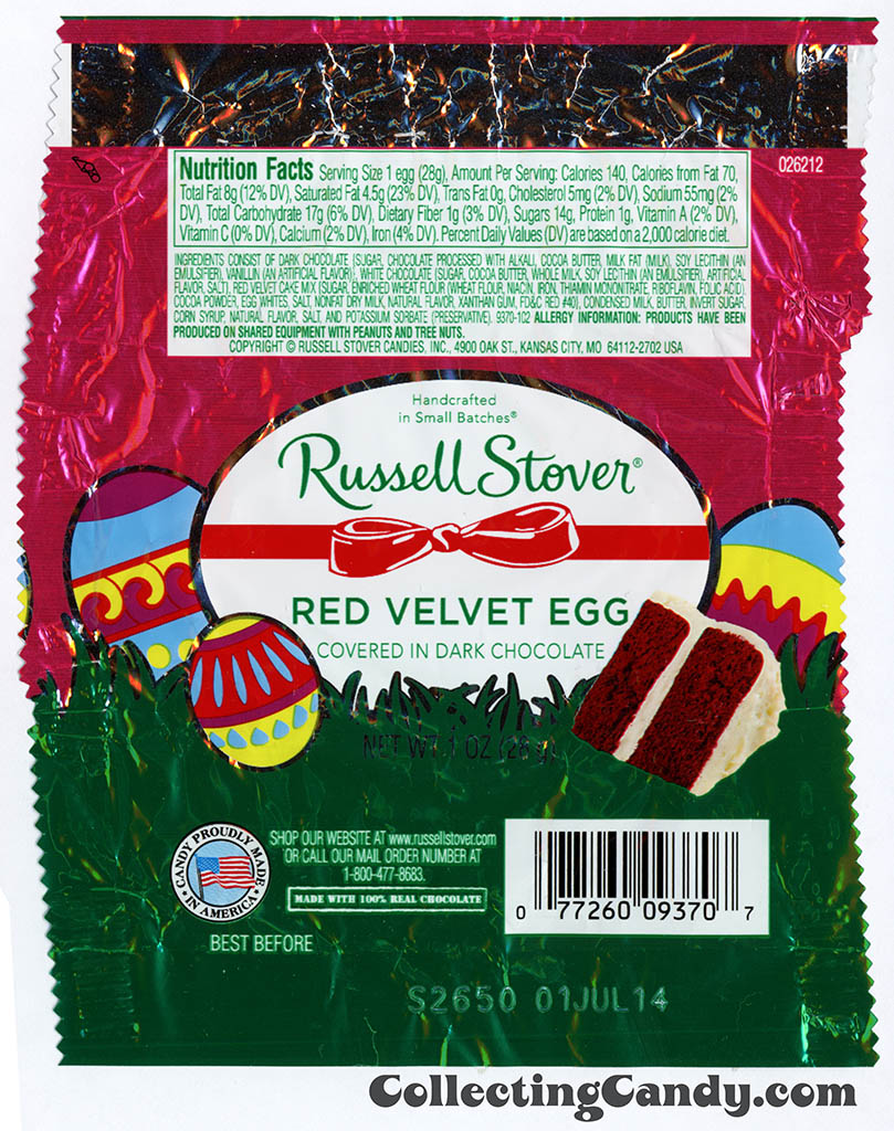 Russell Stover - Egg - Red Velvet Egg covered in dark chocolate - 1oz Easter candy wrapper - March 2014