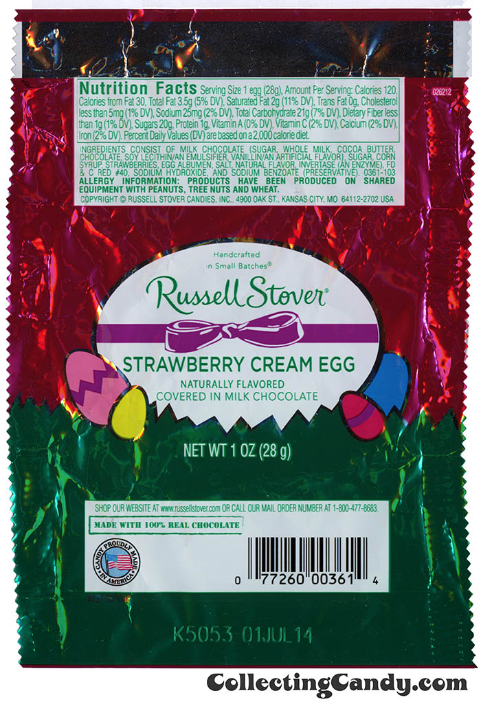 Russell Stover - Egg - Strawberry Cream Egg in milk chocolate - 1oz Easter candy wrapper - March 2014