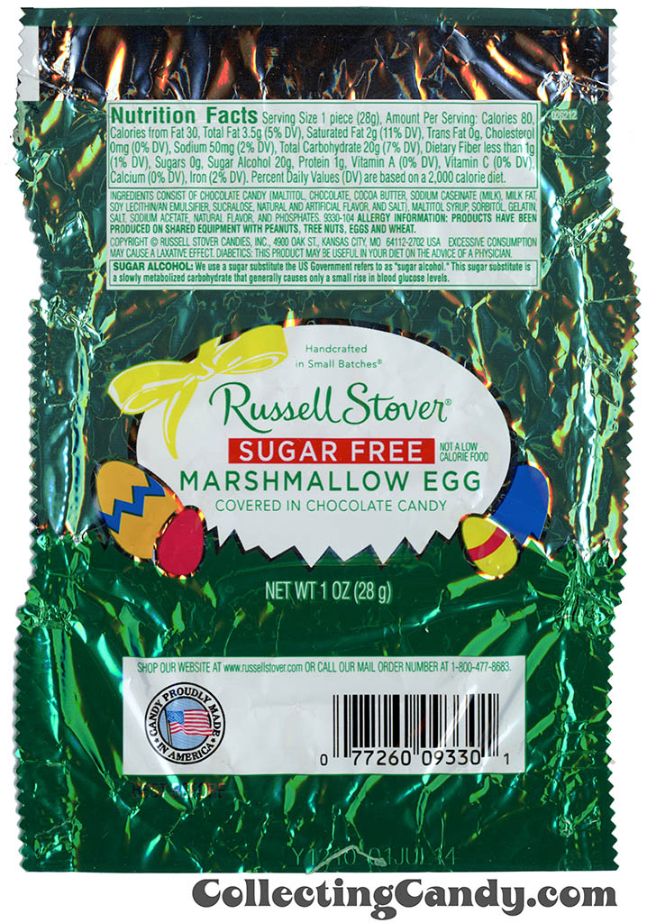 Russell Stover - Egg - Sugar Free Marshmallow Egg covered in chocolate candy - 1oz Easter candy wrapper - March 2014
