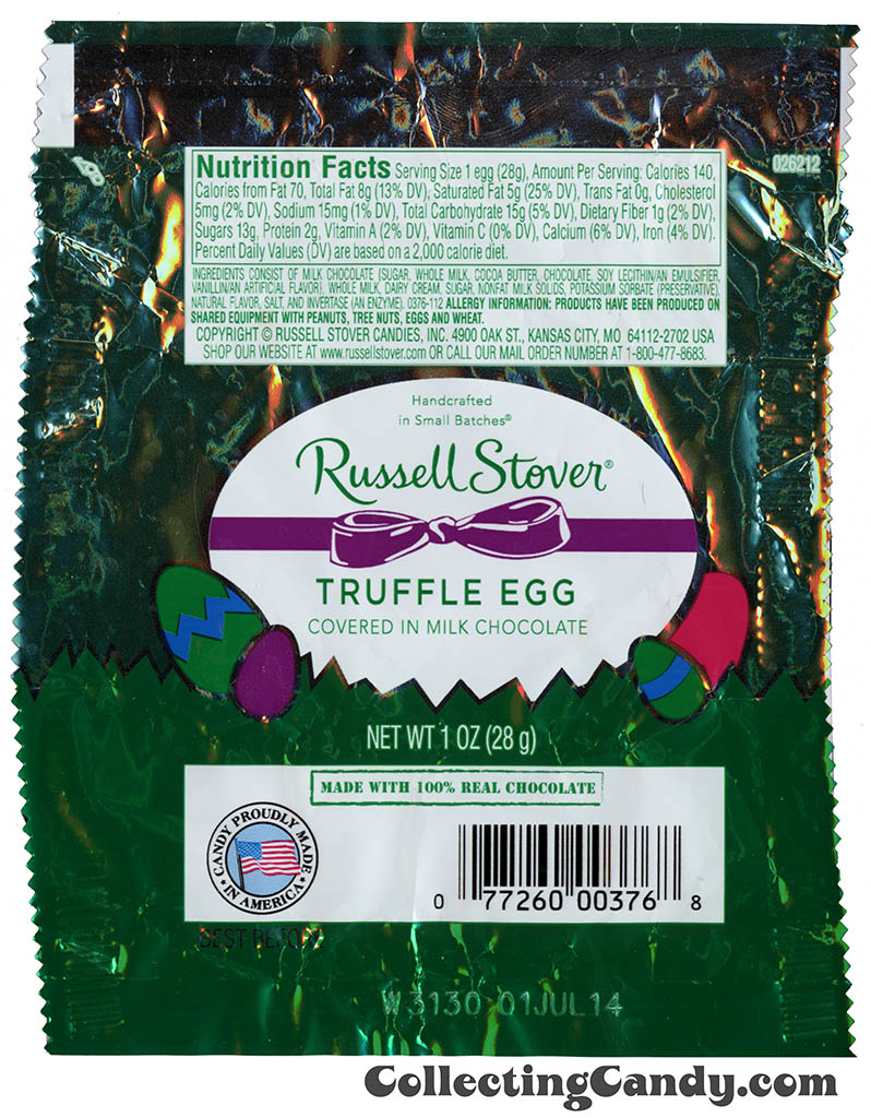 Russell Stover - Egg - Truffle Egg in milk chocolate - 1oz Easter candy wrapper - March 2014