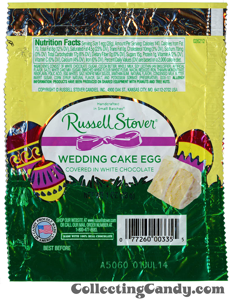 Russell Stover - Egg - Wedding Cake Egg in white chocolate - 1oz Easter candy wrapper - March 2014