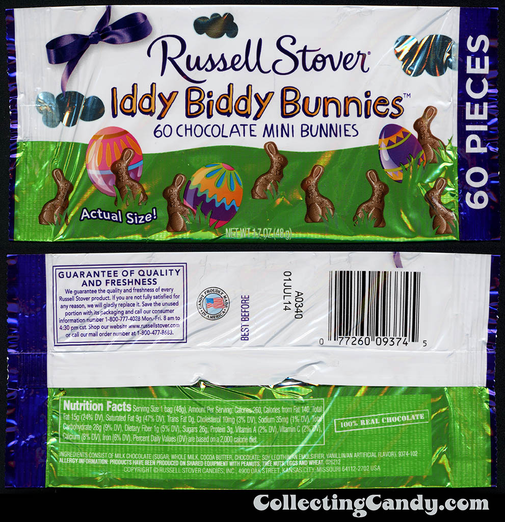 Russell Stover - Iddy Biddy Bunnies - 1 oz Easter candy package - March 2014
