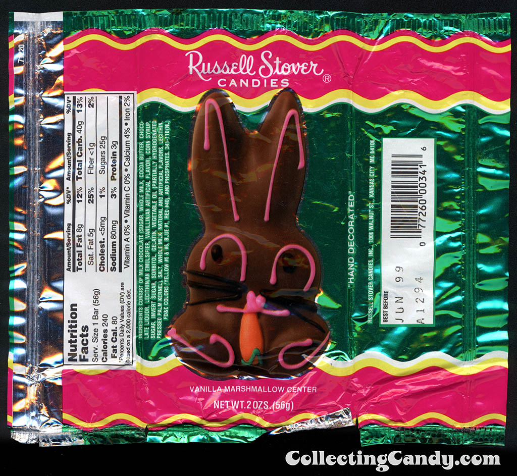 Russell Stover - Vanilla Marshmallow chocolate bunny - hand decorated - 2 oz Easter candy package wrapper - 1999