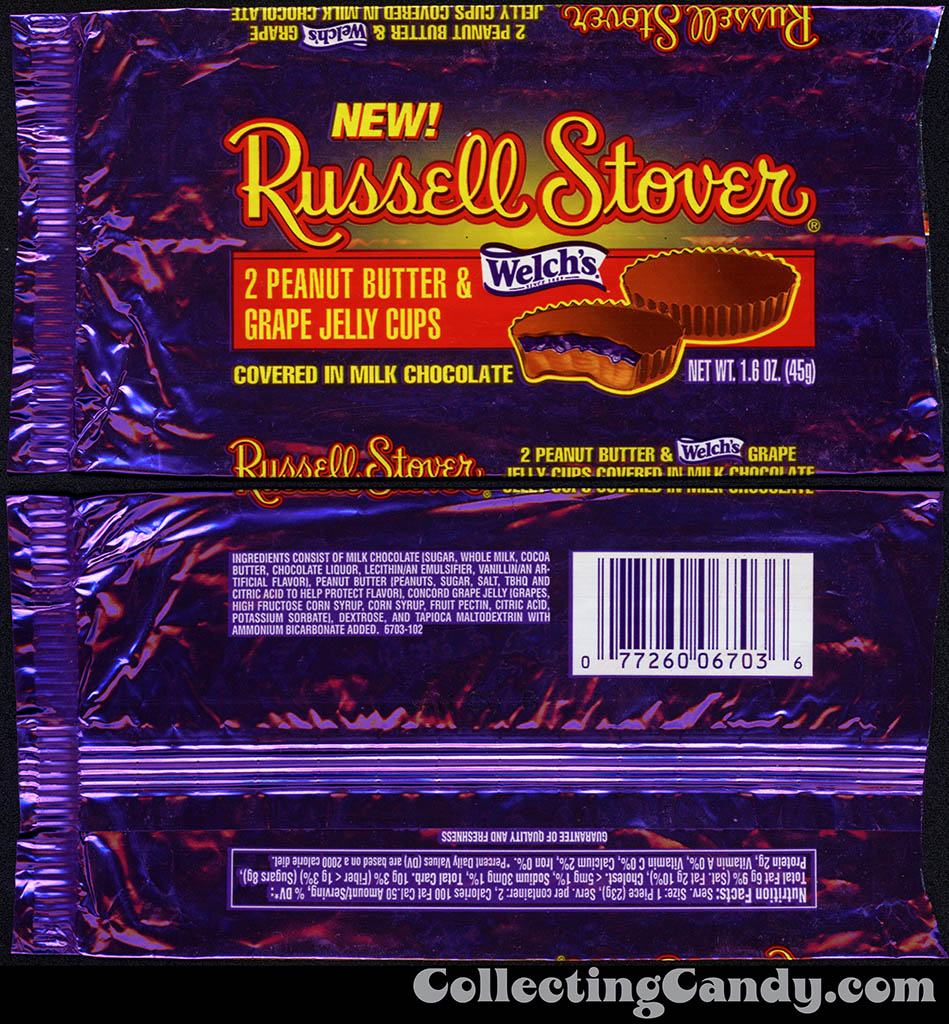 Russell Stover - Welch's Peanut Butter and Grape Jelly Cups - 1.6 oz candy package - early 1990's