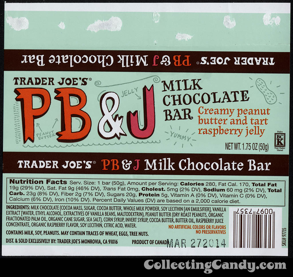 Trader Joe's PB&J milk chocolate bar - candy bar wrapper - July 2013