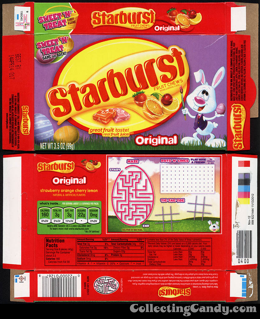 Wrigley - Starburst Fruit Chews Original - 3.5 oz Easter candy box - 2013