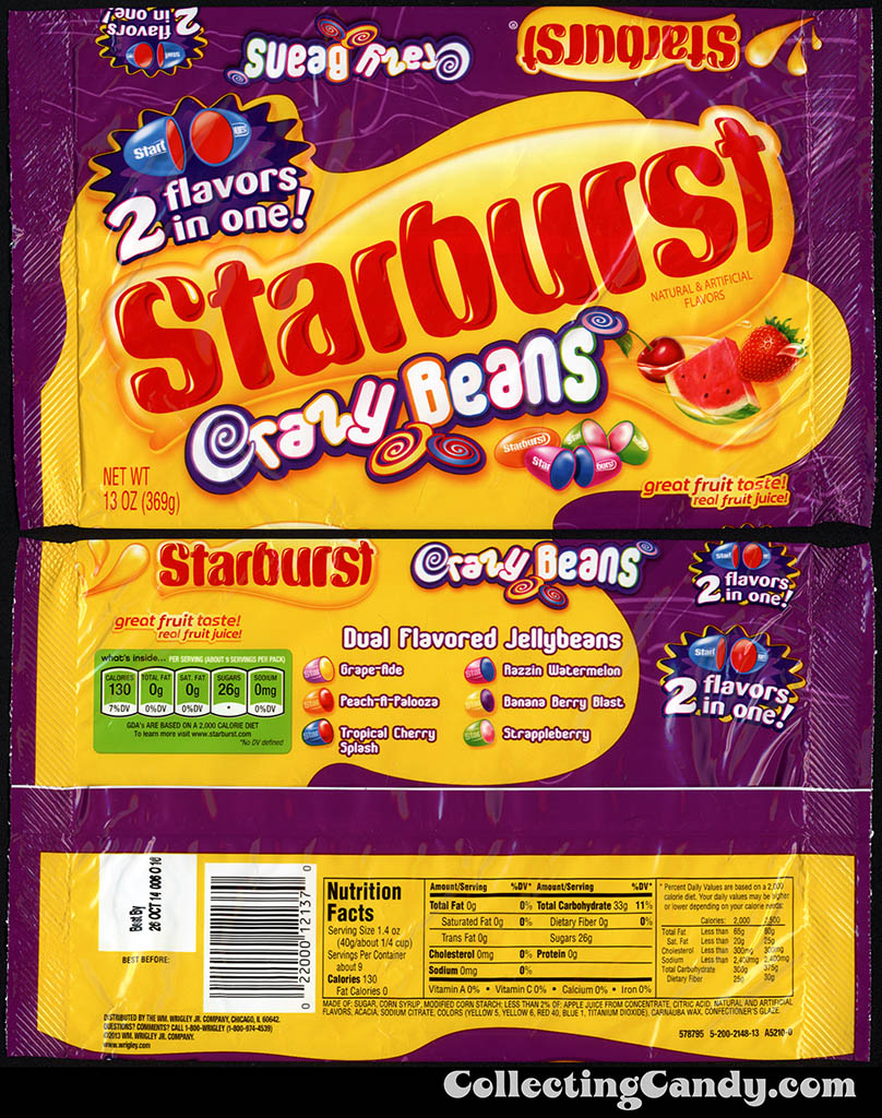 Wrigley - Starburst Jellybeans Crazy Beans - 13oz candy package - March 2014