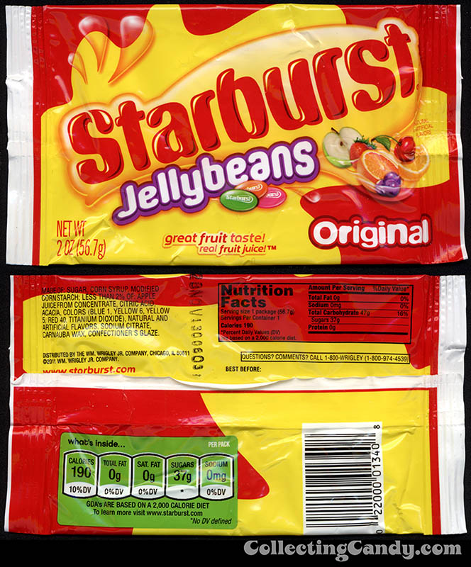 Wrigley - Starburst Jellybeans Original - 2oz candy package - 2012