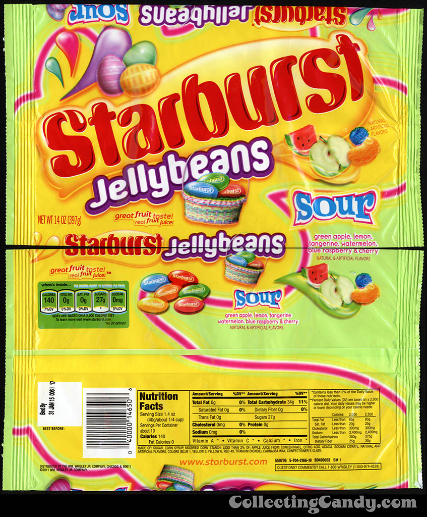 Wrigley - Starburst Jellybeans Sour - 14oz Easter candy package - March 2014