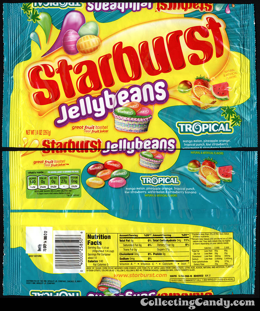 Wrigley - Starburst Jellybeans Tropical - 14oz Easter candy package - March 2014