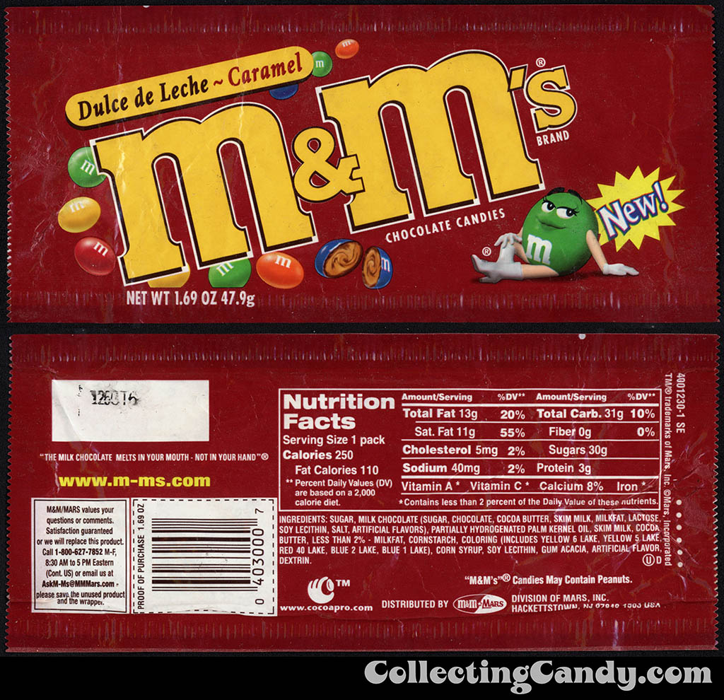 Mars - M&M's - Dulce de Leche Caramel - New - 1.69 oz candy package - 2002