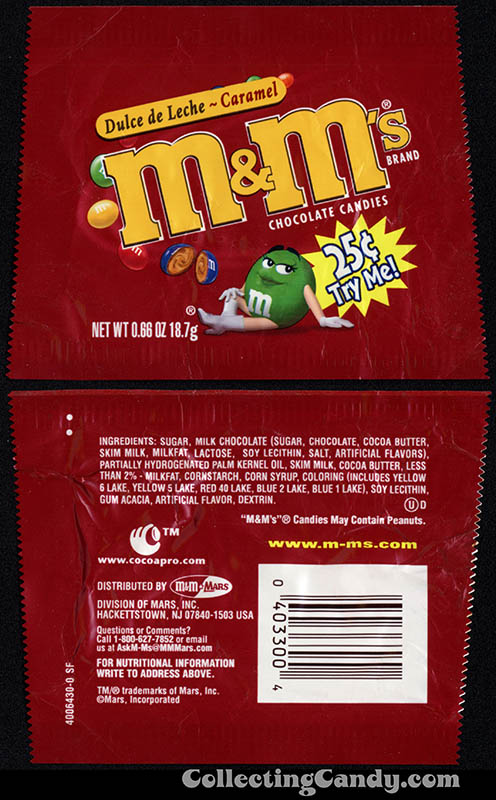 Mars - M&M's - Dulce de Leche Caramel - .66 oz 25-cent Try Me candy package - 2002