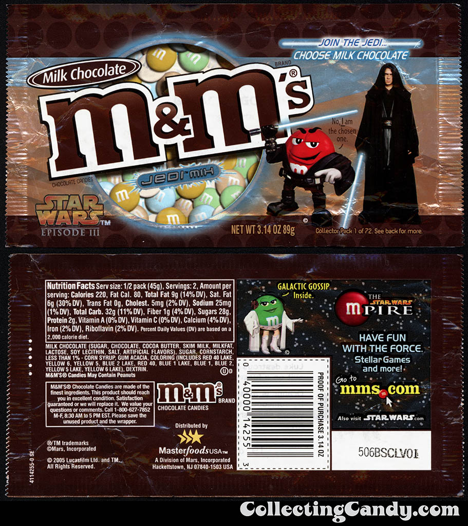 Mars - M&M's Star Wars Episode III - 01 of 72 - Milk Chocolate Jedi Mix - 3.14 oz candy package - 2005
