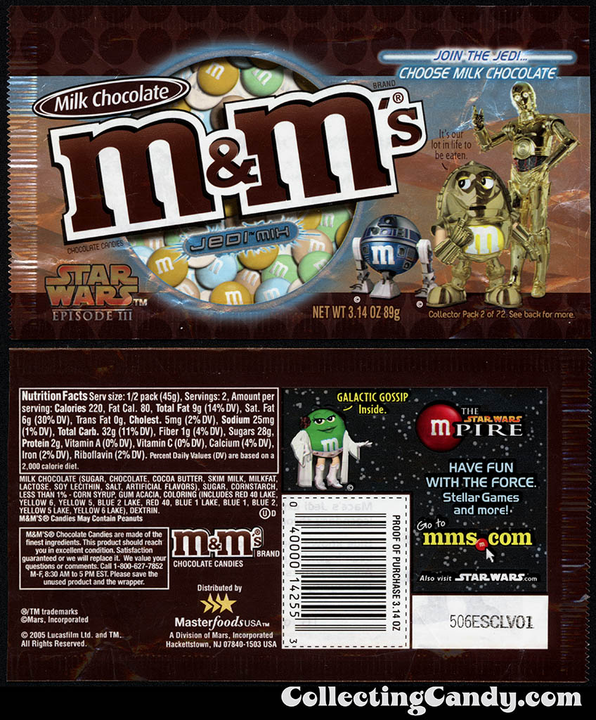 Mars - M&M's Star Wars Episode III - 02 of 72 - Milk Chocolate Jedi Mix - 3.14 oz candy package - 2005