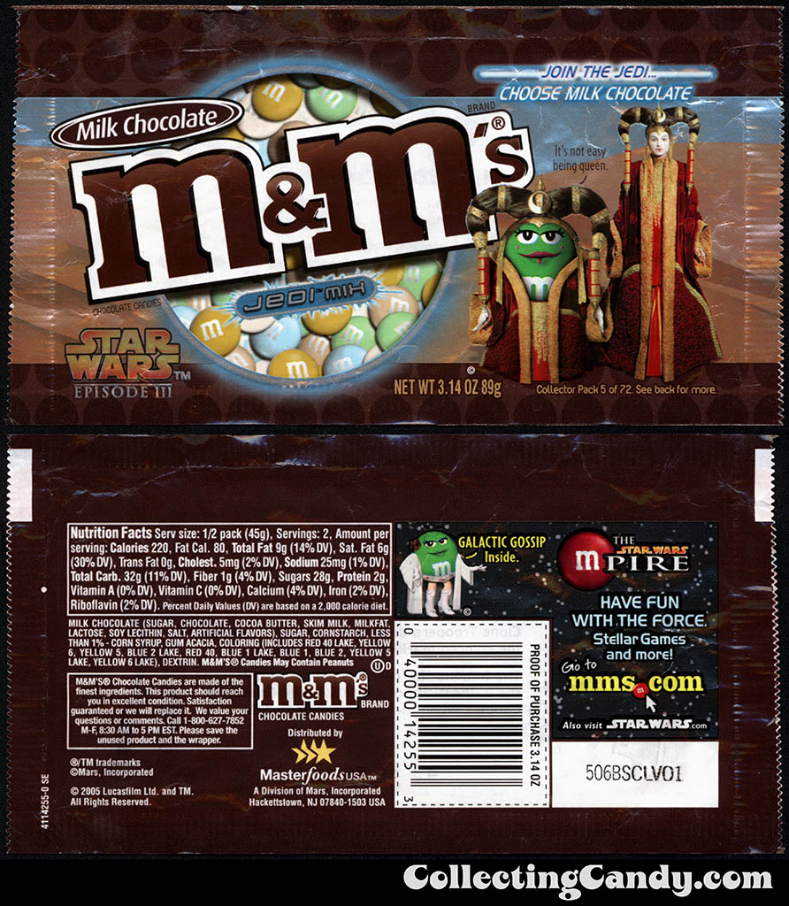 Mars - M&M's Star Wars Episode III - 05 of 72 - Milk Chocolate Jedi Mix - 3.14 oz candy package - 2005