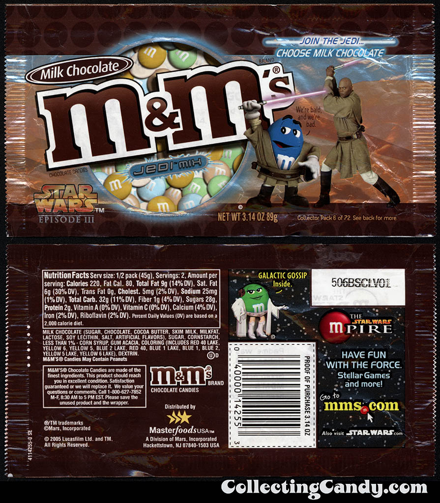 Mars - M&M's Star Wars Episode III - 06 of 72 - Milk Chocolate Jedi Mix - 3.14 oz candy package - 2005