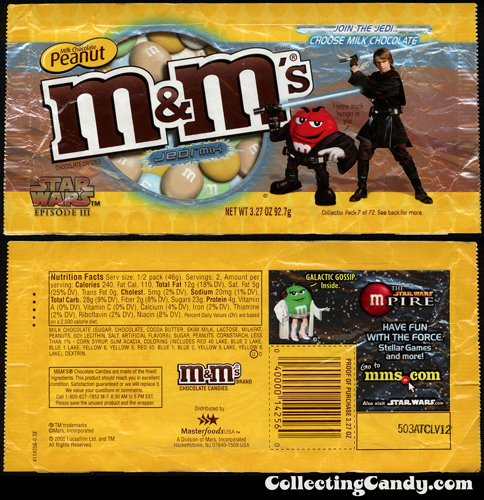 Mars - M&M's Star Wars Episode III - 07 of 72 - Milk Chocolate Peanut Jedi Mix - 3.27 oz candy package - 2005