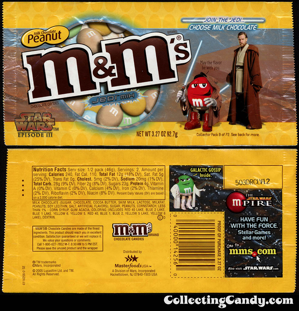 Mars - M&M's Star Wars Episode III - 09 of 72 - Milk Chocolate Peanut Jedi Mix - 3.27 oz candy package - 2005