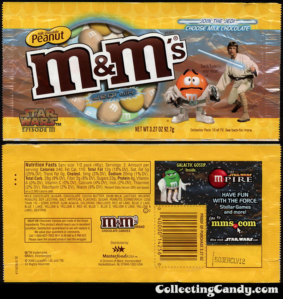 Mars - M&M's Star Wars Episode III - 10 of 72 - Milk Chocolate Peanut Jedi Mix - 3.27 oz candy package - 2005