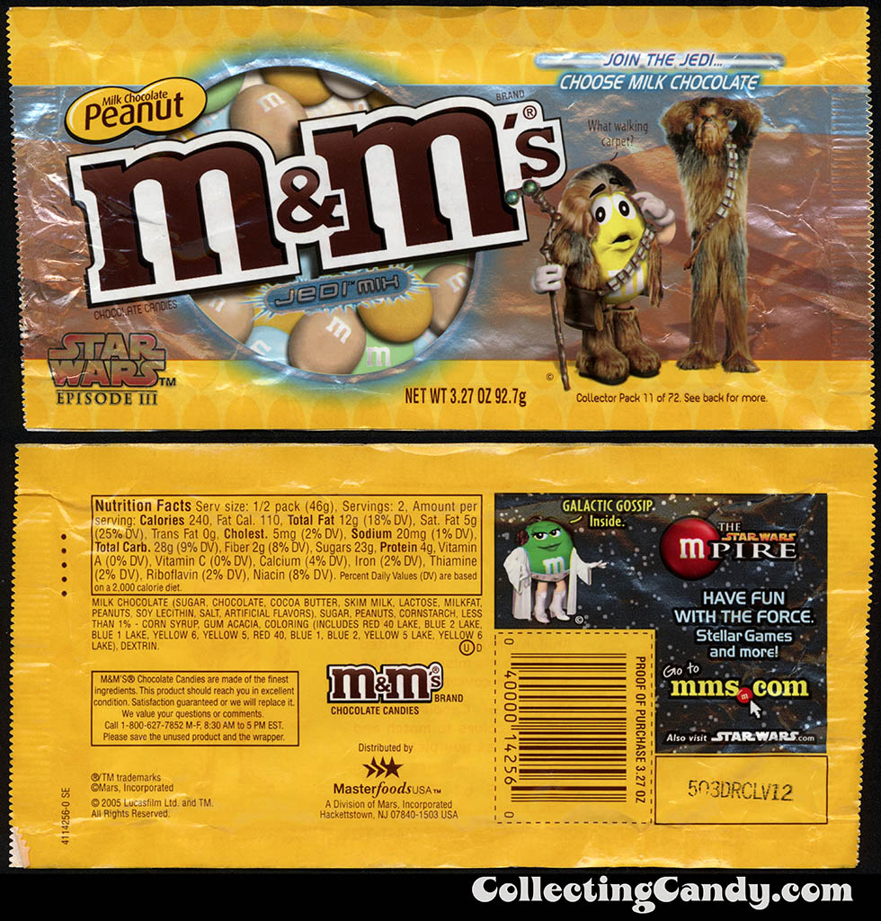 Mars - M&M's Star Wars Episode III - 11 of 72 - Milk Chocolate Peanut Jedi Mix - 3.27 oz candy package - 2005