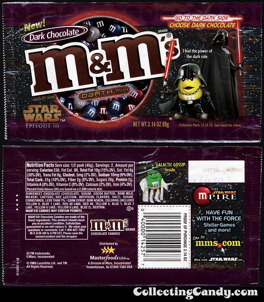 Mars - M&M's Star Wars Episode III - 13 of 72 - Dark Chocolate Darth Mix - 3.14 oz candy package - 2005