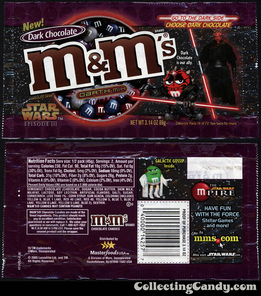 Mars - M&M's Star Wars Episode III - 16 of 72 - Dark Chocolate Darth Mix - 3.14 oz candy package - 2005