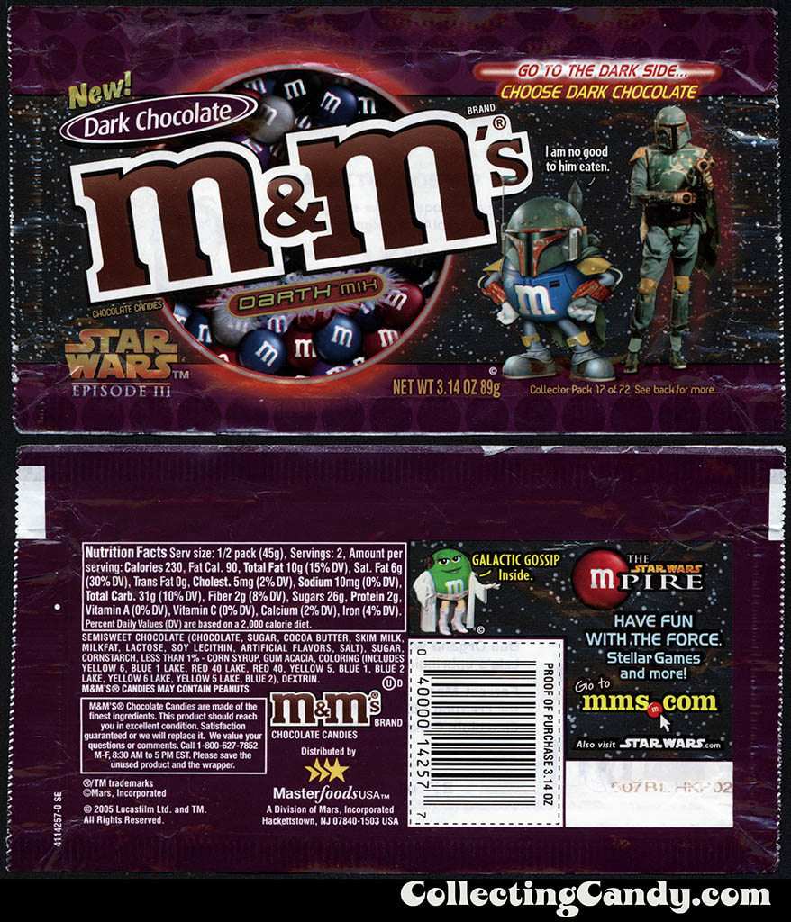 Mars - M&M's Star Wars Episode III - 17 of 72 - Dark Chocolate Darth Mix - 3.14 oz candy package - 2005