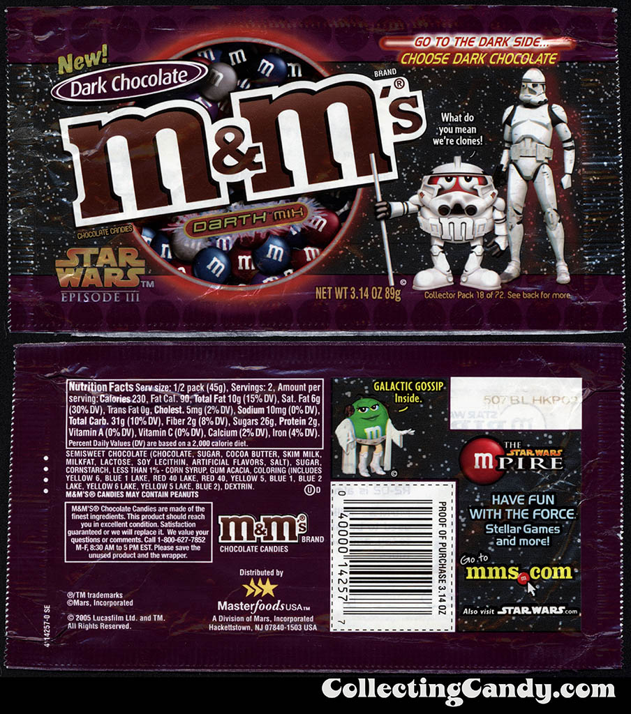 Mars - M&M's Star Wars Episode III - 18 of 72 - Dark Chocolate Darth Mix - 3.14 oz candy package - 2005