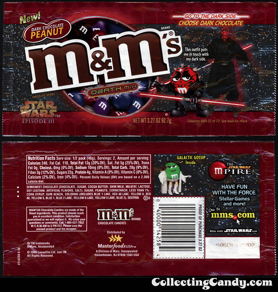 Mars - M&M's Star Wars Episode III - 22 of 72 - Dark Chocolate Peanut Darth Mix - 3.27 oz candy package - 2005