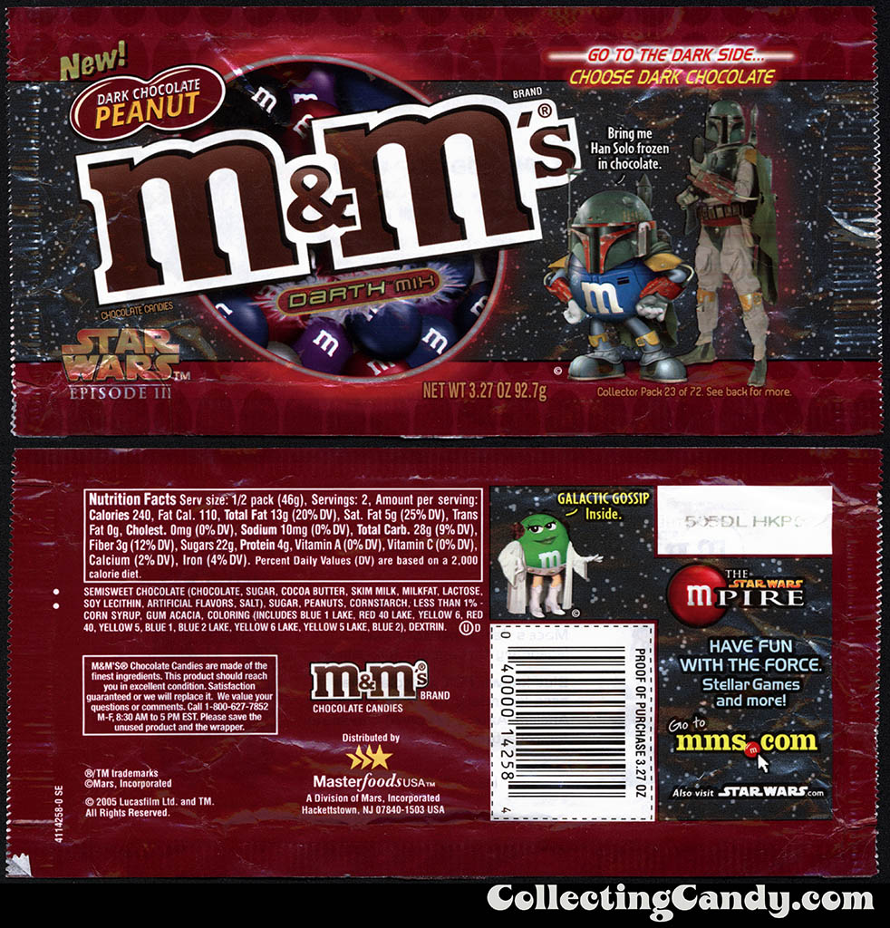 Mars - M&M's Star Wars Episode III - 23 of 72 - Dark Chocolate Peanut Darth Mix - 3.27 oz candy package - 2005