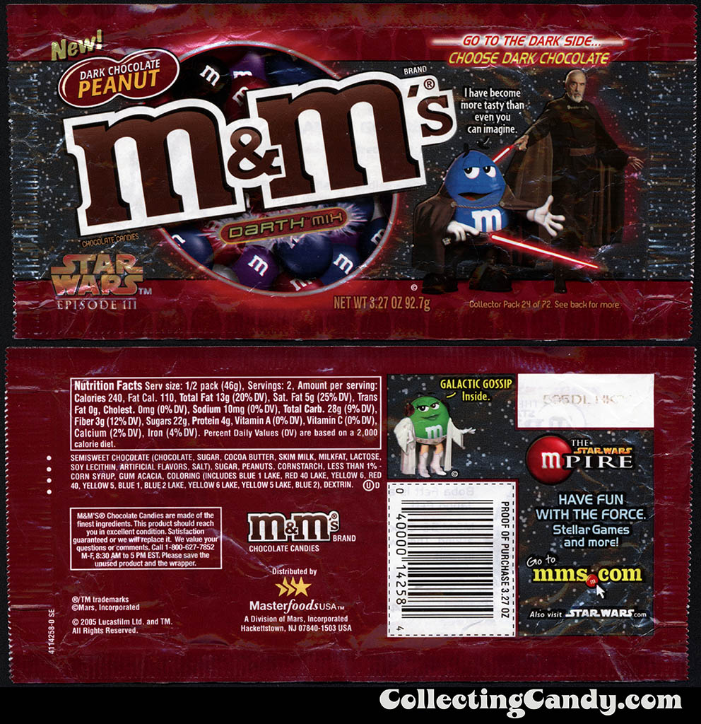 Mars - M&M's Star Wars Episode III - 24 of 72 - Dark Chocolate Peanut Darth Mix - 3.27 oz candy package - 2005