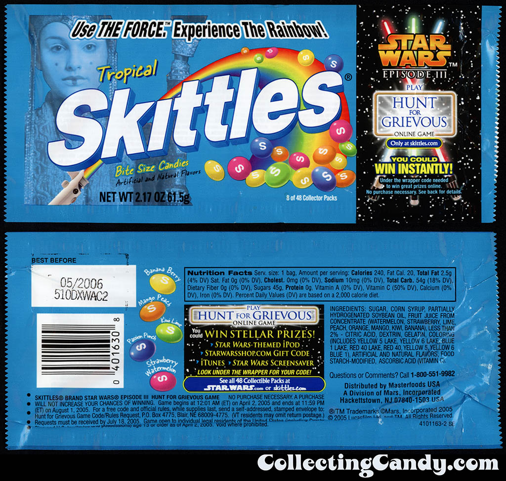 Mars - Skittles Star Wars Episode III - 08 of 48 - Tropical - Hunt for Grevous - 2.17 oz candy package - 2005