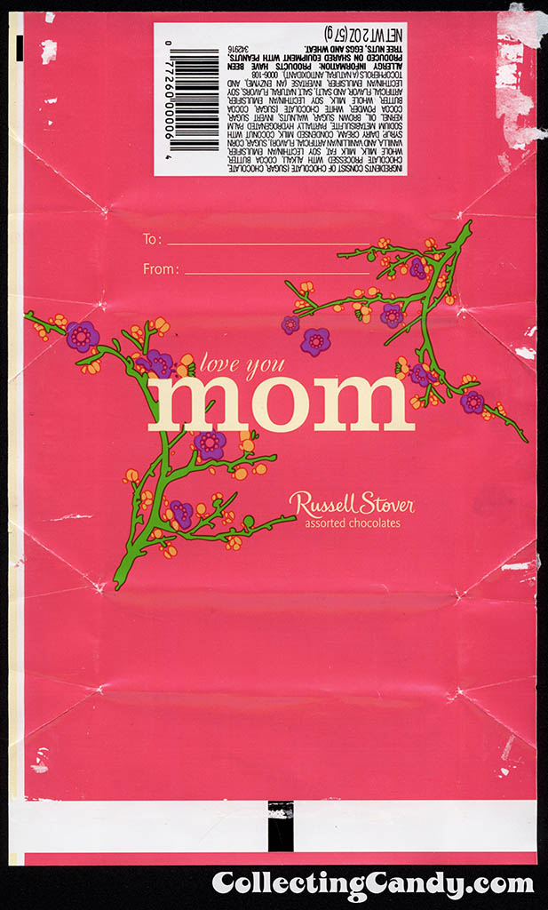Russell Stover - Assorted Chocolates Mother's Day 2 oz box wrap - pink - candy box wrapper - May 2013
