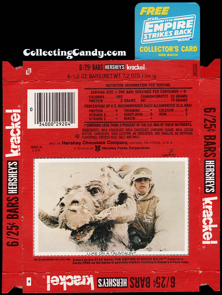 Star Wars - The Empire Strikes Back - Hersheys Krackel pack collector card - Luke on Tauntaun - 1980
