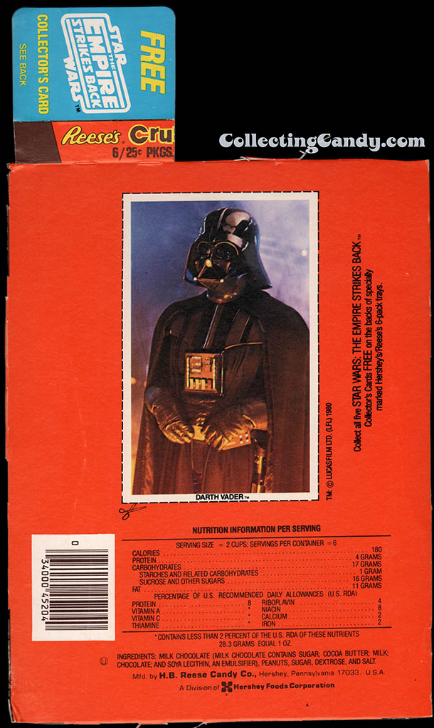 Star Wars - The Empire Strikes Back - Hersheys Reeses Crunchy pack collector card - Darth Vader - 1980
