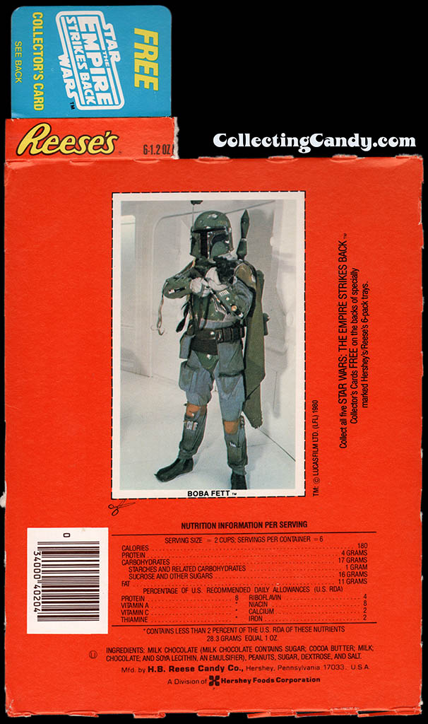 Star Wars - The Empire Strikes Back - Hersheys Reeses pack collector card - Boba Fett - 1980