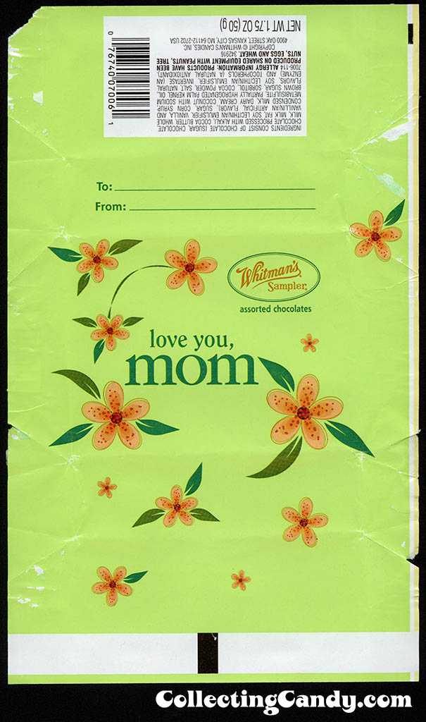 Whitman - Whitman's Sampler Mother's Day 1.75oz box wrap - green - candy box wrapper - May 2013