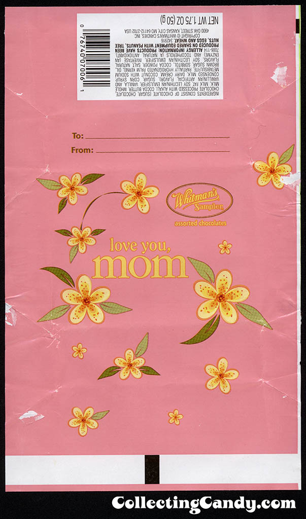 Whitman - Whitman's Sampler Mother's Day 1.75oz box wrap - pink - candy box wrapper - May 2013