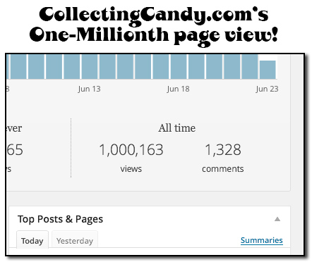 CollectingCandys one-millionth page view.