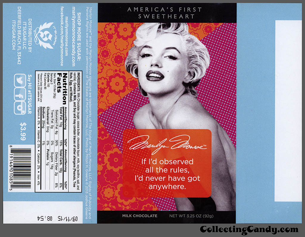 It'Sugar - Marilyn Monroe - America's First Sweetheart - all the rules - 3.25oz milk chocolate candy bar wrapper - February 2014
