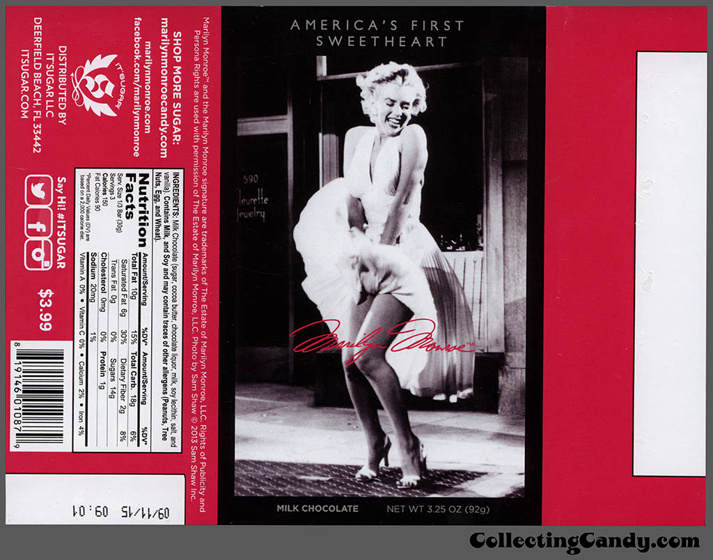 It'Sugar - Marilyn Monroe - America's First Sweetheart - autograph - 3.25oz milk chocolate candy bar wrapper - February 2014