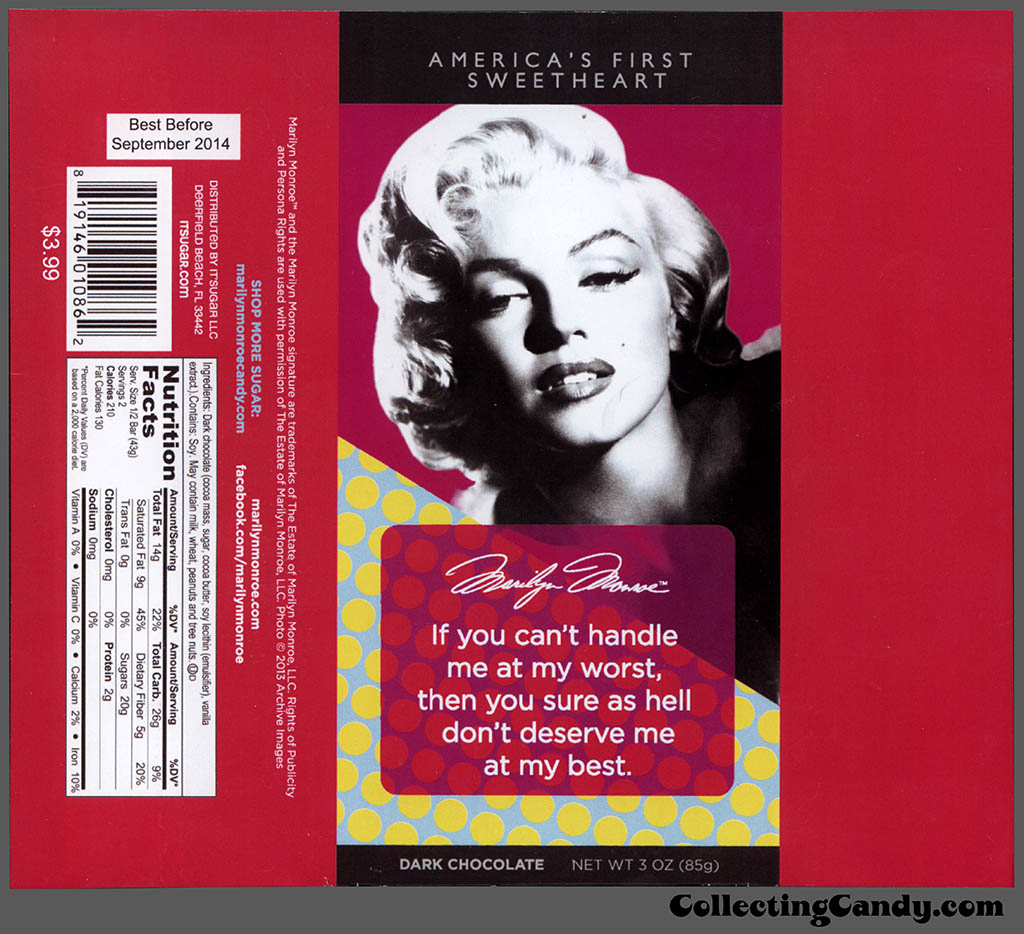 It'Sugar - Marilyn Monroe - America's First Sweetheart - don't deserve me - 3oz dark chocolate candy bar wrapper - February 2014