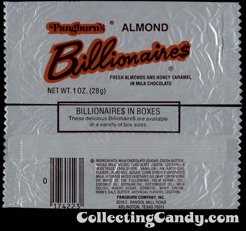 Pangburn's - Almond Billionaires - 1oz candy wrapper - 1983