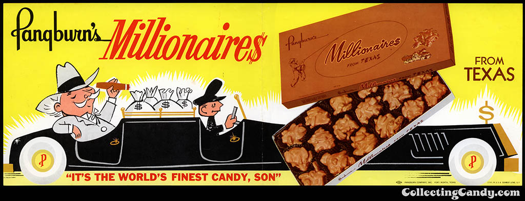 Pangburn's Millionaires chocolate candy - promotional poster - 1950's 1960's
