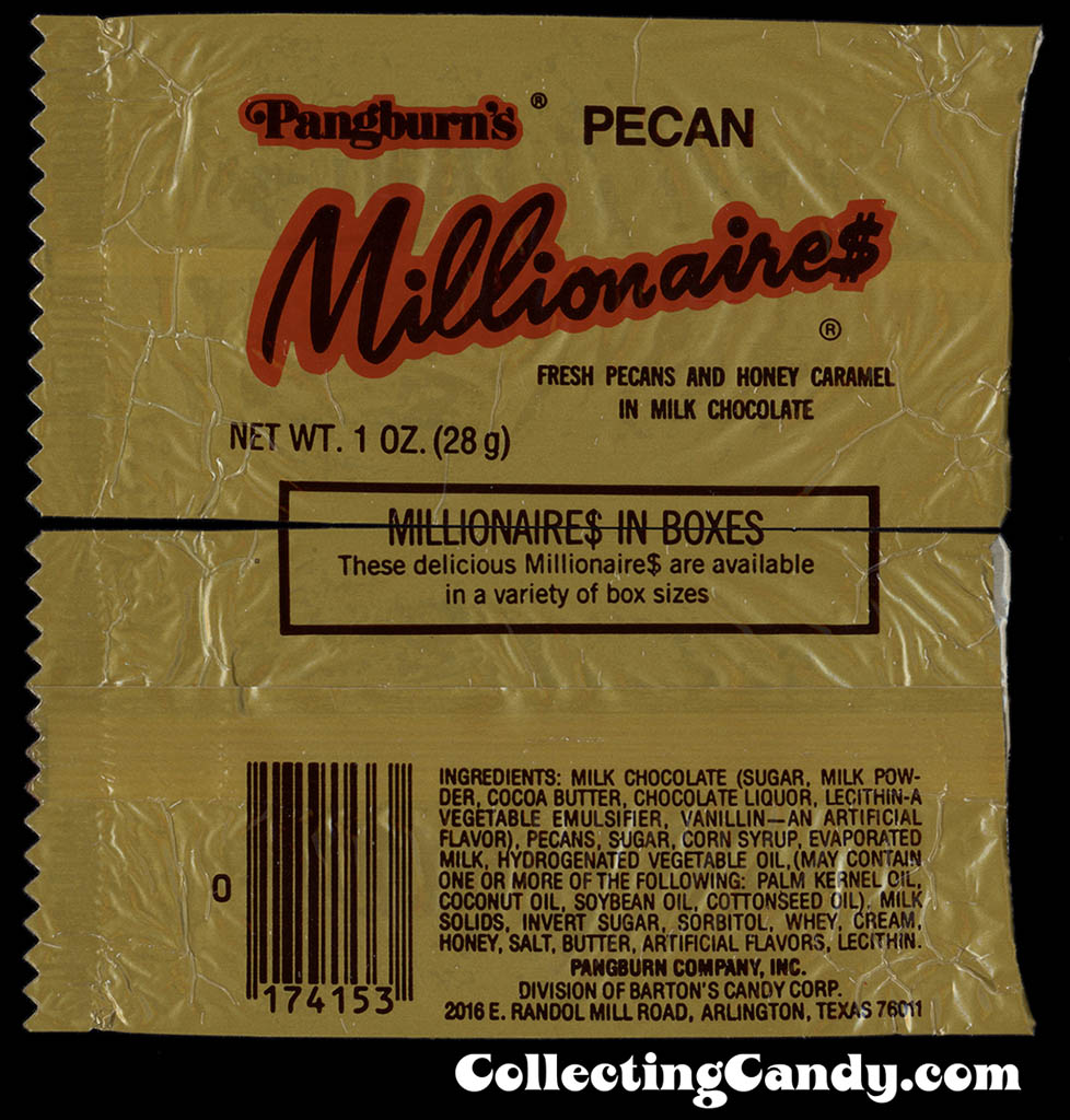 Pangburn's - Pecan Millionaires - 1oz candy bar wrapper - 1983
