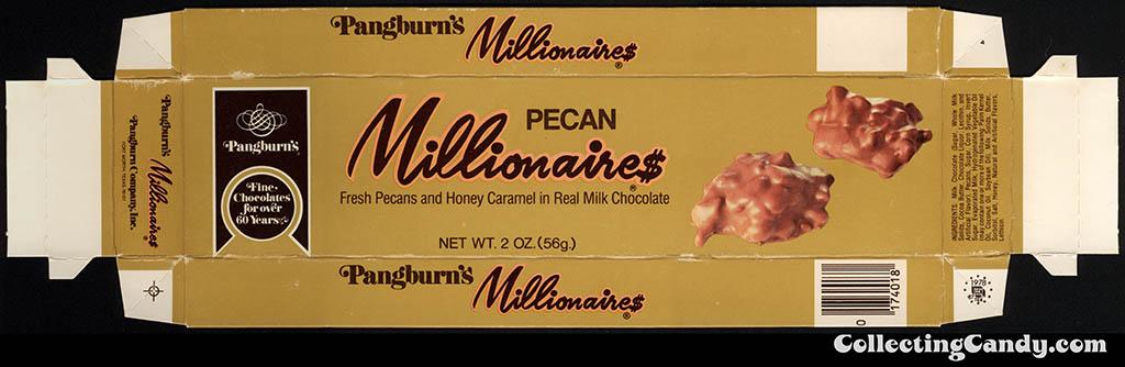 Pangburn's - Pecan Millionaires - 2oz candy box lid - 1978