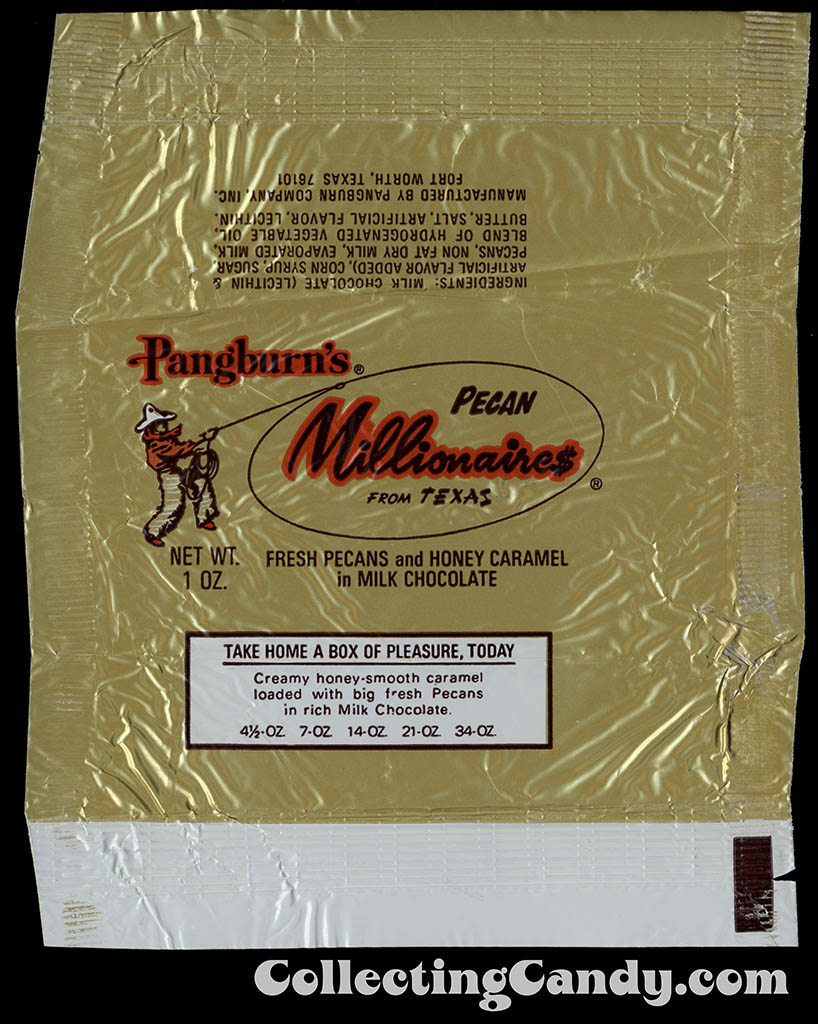 Pangburn's - Pecan Millionaires from Texas - 1oz candy wrapper - 1976